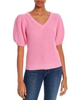 525 - V-Neck Puff-Sleeve Sweater