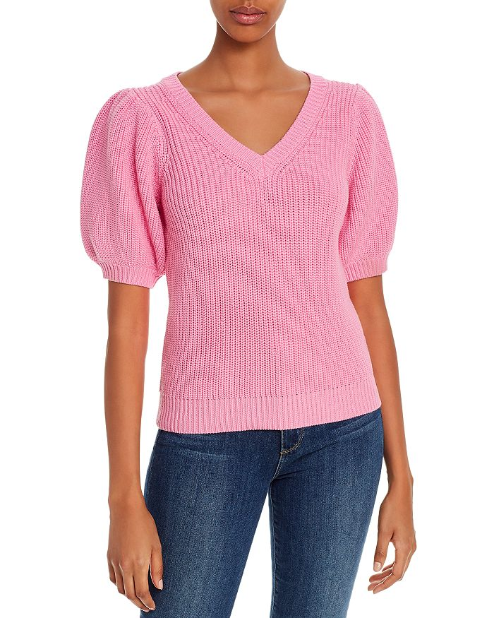 525 - V-Neck Puff-Sleeve Sweater