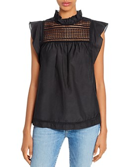 7 For All Mankind - Yolk-Trim Ruffled Top