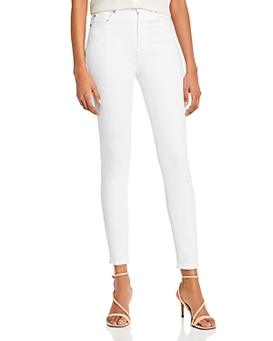 7 For All Mankind High-Waist Ankle Skinny Jeans in Slim Illusion Luxe White