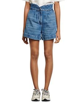 Sandro - Ness High-Rise Denim Shorts in Blue Vintage