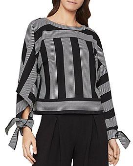 BCBGMAXAZRIA - Tie-Sleeve Striped Top