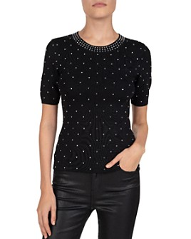 The Kooples - Studded Short-Sleeve Crewneck Top