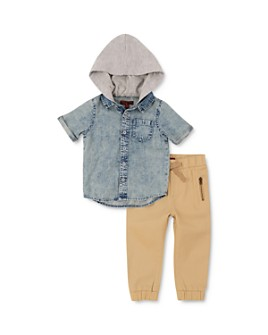 7 For All Mankind - Boys' Hooded Denim Shirt & Jogger Pants Set - Little Kid