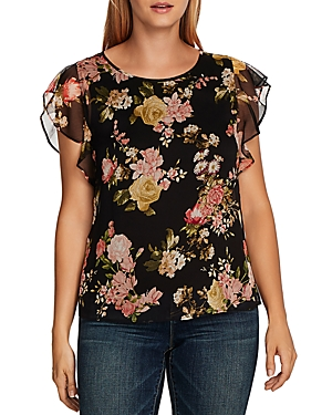 Vince Camuto Beautiful Blooms Flutter Sleeve Top-Women