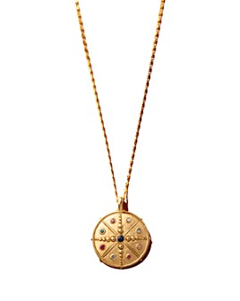 "Sequin - Multicolor Crystal Compass Talisman Necklace, 16.5"""