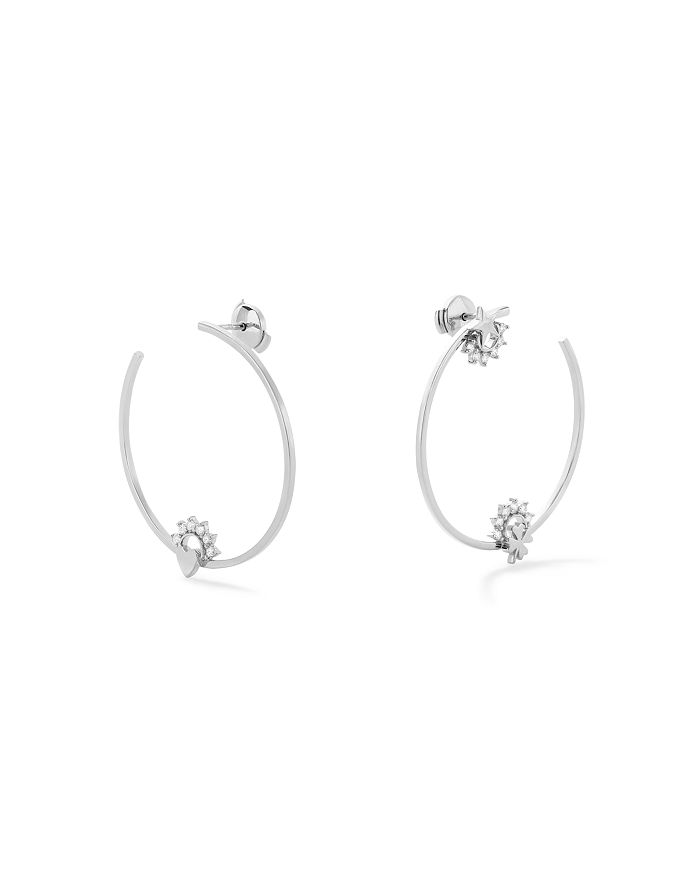 Nouvel Heritage - 18K White Gold Mystic Diamond Motifs Hoop Earrings