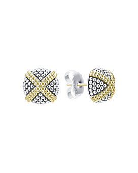 LAGOS - 18K Yellow Gold & Sterling Silver Signature Caviar Square Earrings
