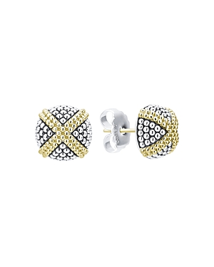 Lagos 18K Yellow Gold & Sterling Silver Signature Caviar Square Earrings-Jewelry & Accessories