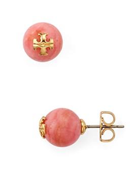 Tory Burch - Semi-Precious Stone Logo Stud Earrings
