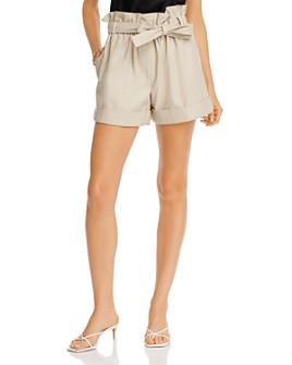 AQUA - Paperbag-Waist Faux-Leather Mini Shorts - 100% Exclusive