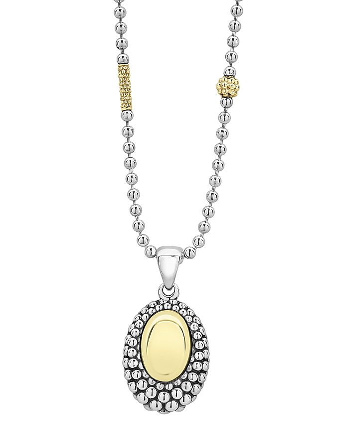 """LAGOS - Sterling Silver & 18K Yellow Gold High Bar Oval Pendant Necklace, 18"""""""