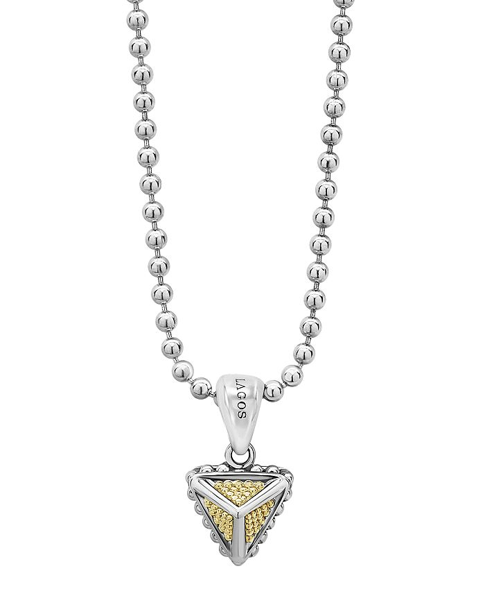 LAGOS - Sterling Silver & 18K Yellow Gold KSL Pyramic Pendant Necklace, 18""