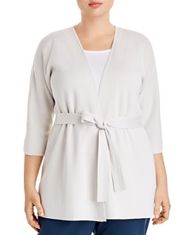 Eileen Fisher Plus - Silk & Organic Cotton Belted Cardigan