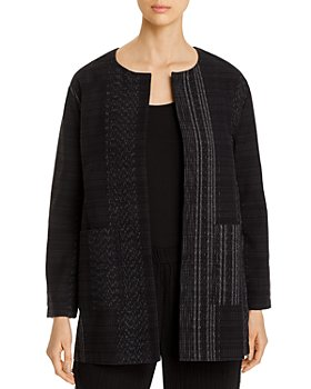 Eileen Fisher Petites - Cotton Textured Open-Front Long Jacket - 100% Exclusive