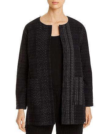 Eileen Fisher Petites - Cotton Textured Open-Front Long Jacket - 100% Exclusive