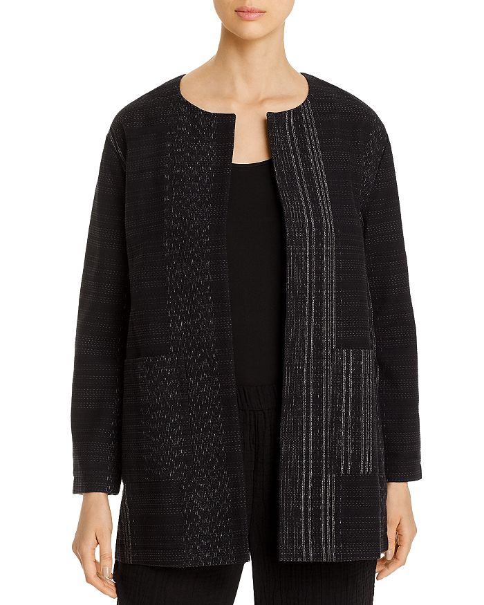 Eileen Fisher - Cotton Textured Open-Front Long Jacket - 100% Exclusive