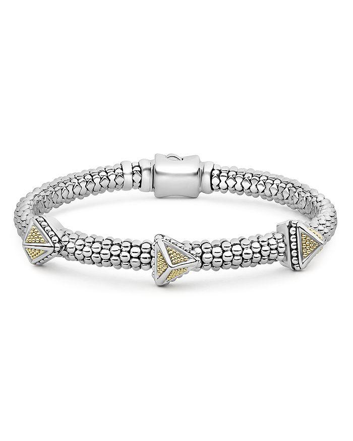 LAGOS - Sterling Silver & 18K Yellow Gold KSL Triple Pyramid Bracelet