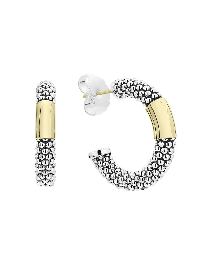 LAGOS - 18K Yellow Gold & Sterling Silver Caviar High Bar Hoop Earrings