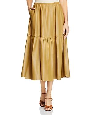 Lafayette 148 New York Safford Leather Midi Skirt-Women