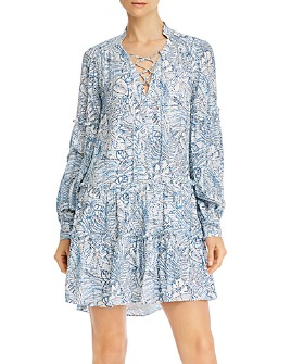 Parker - Silk Floral-Print Lace-Up Mini Dress