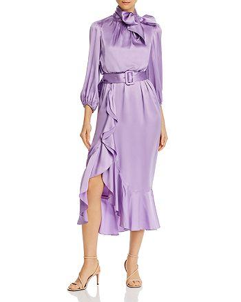 Cinq à Sept - Silk Tie-Neck Belted Midi Dress
