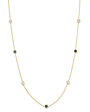 Bloomingdale's 14K Yellow Gold & Black & White Diamond Station Necklace, 16.5 - 100% Exclusive