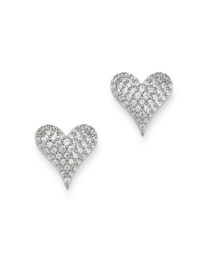 Bloomingdale's Diamond Heart Stud Earrings in 14K White Gold, 0.5 ct. t.w. - 100% Exclusive    Bloomingdale's