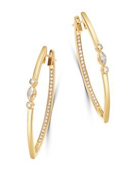 Bloomingdale's - Diamond Statement Hoop Earrings in 14K Yellow Gold, 1.3 ct. t.w. - 100% Exclusive
