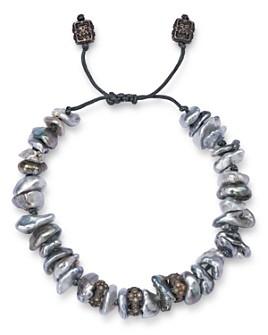 Armenta - Sterling Silver Old World Cultured Pearl & Champagne Diamond Slider Bracelet