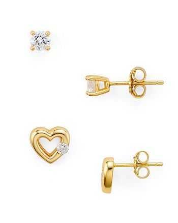 AQUA - Cubic Zirconia Heart & Solitaire Stud Earrings in 18K Gold-Plated Sterling Silver, Set of 2