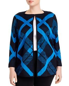 Misook Plus - Plus Diagonal Lines Knit Jacket