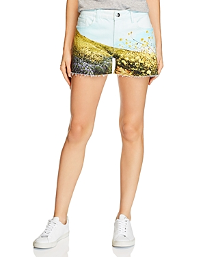 Frame Le Grand Garcon Field Denim Shorts in Flower Multi