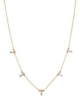 """Adina Reyter - 14K Gold & Diamond Stick Pendant Necklace, 15"""""""