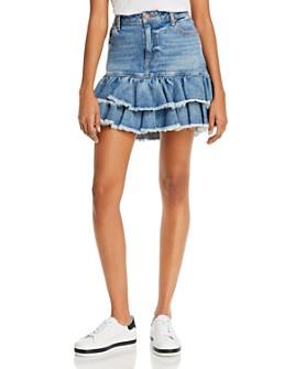 Alice and Olivia - Good Ruffled Denim Mini Skirt