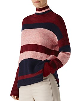Whistles - Striped Knit Turtleneck Sweater