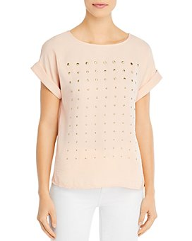 VINCE CAMUTO - Studded Short-Sleeve Blouse