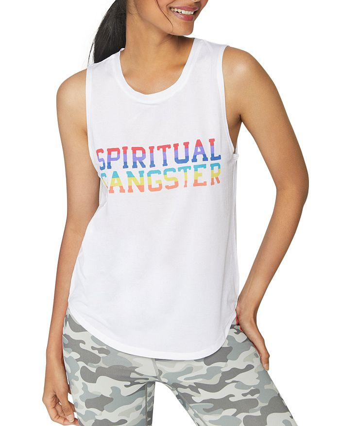 Spiritual Gangster - Rainbow-Logo Muscle Tank