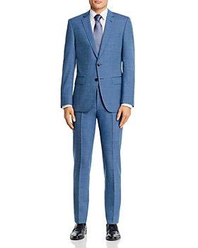 BOSS - Huge/Genius Blue Tic Weave Wool-Blend Slim Fit Suit