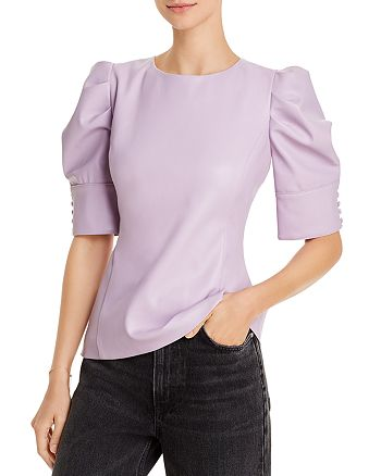 AQUA - Faux-Leather Puff-Sleeve Top - 100% Exclusive
