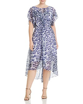 Adrianna Papell Plus - Watercolor Leopard-Print Dress
