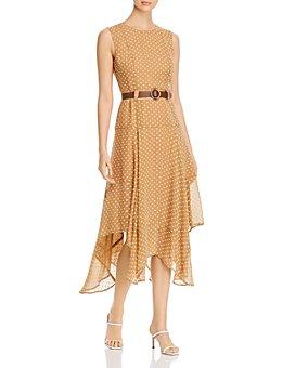 Calvin Klein - Belted Handkerchief-Hem Midi Dress