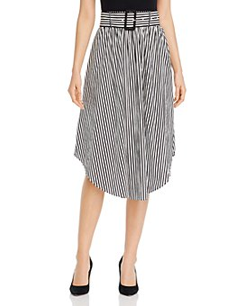 T Tahari - Belted Striped Midi Skirt