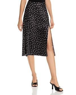 AQUA - Dot-Print Satin Midi Skirt - 100% Exclusive