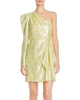 ML Monique Lhuillier - One-Shoulder Metallic Dress