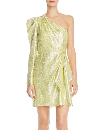 ML Monique Lhuillier - One-Shoulder Metallic Dress