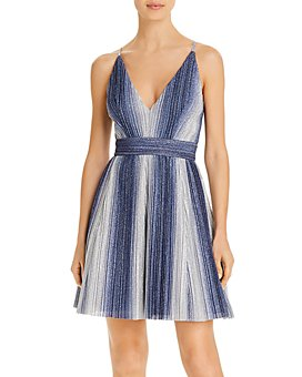 AQUA - Metallic-Stripe Fit & Flare Dress - 100% Exclusive