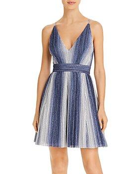 AQUA - Metallic-Stripe Fit & Flare Dress - 100% Exclusive