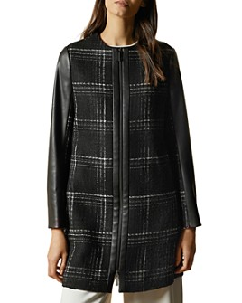 Ted Baker - Shellie Plaid Faux-Leather-Trimmed Coat