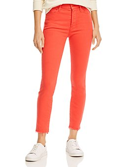 MOTHER - The Stunner Ankle Fray Skinny Jeans in Tomato